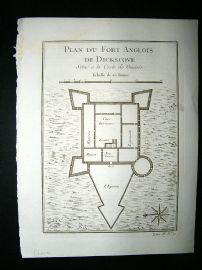Africa Ghana: C1750 Antique Map, Fort de Dockscove. Bellin Prevost